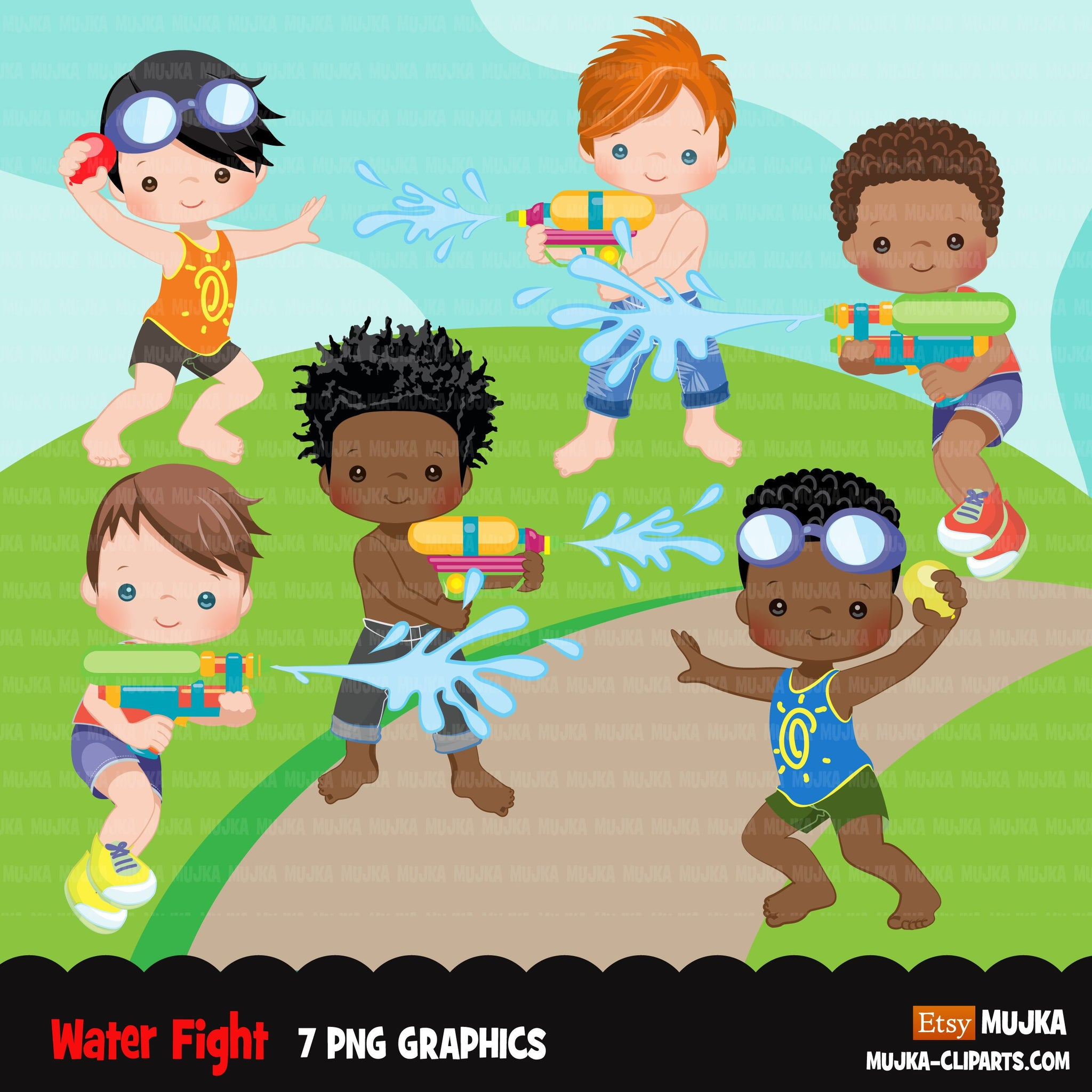 Water gun fight clipart, boys, black boys outdoors water balloon fight, summer birthday graphics, commercial use PNG clip art