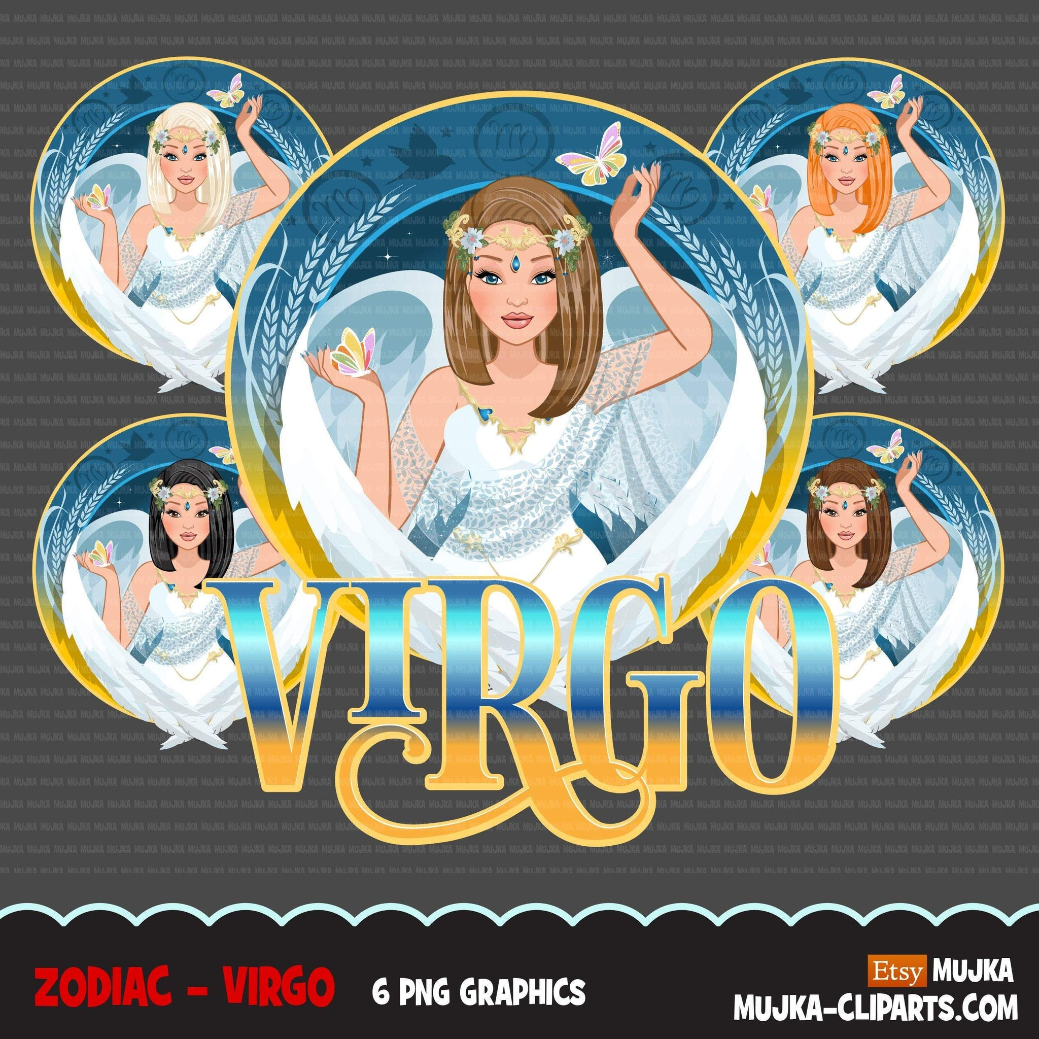 Zodiac Virgo Clipart, Png digital download, Sublimation Graphics for Cricut & Cameo, Caucasian straight hair Woman Horoscope sign designs
