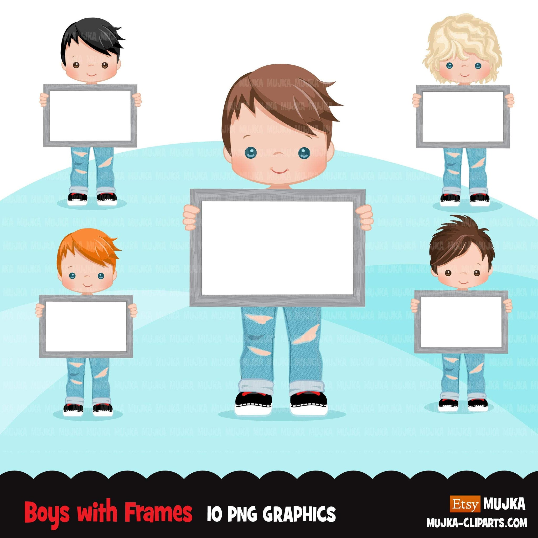 Boys holding frames Clipart, ripped jeans and boots cute kids with blank frame, sublimation Png digital clip art