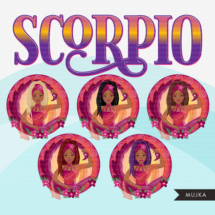 Zodiac Scorpio Clipart, Png digital download, Sublimation Graphics for Cricut & Cameo, Black braided hair Woman Horoscope sign designs