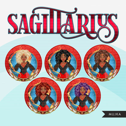 Zodiac Sagittarius Clipart, Png digital download, Sublimation Graphics for Cricut & Cameo, Black Afro Woman Horoscope sign designs