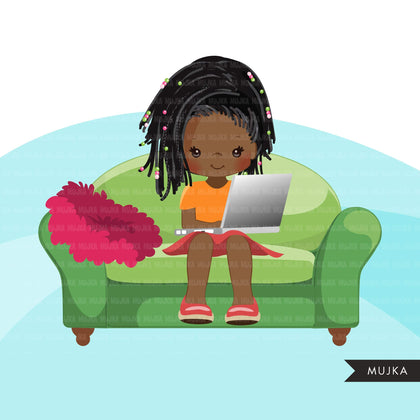 Homeschooling Girls Clipart, black girl sitting with laptop, education, sofa reading, home study graphics, commercial use PNG clip art