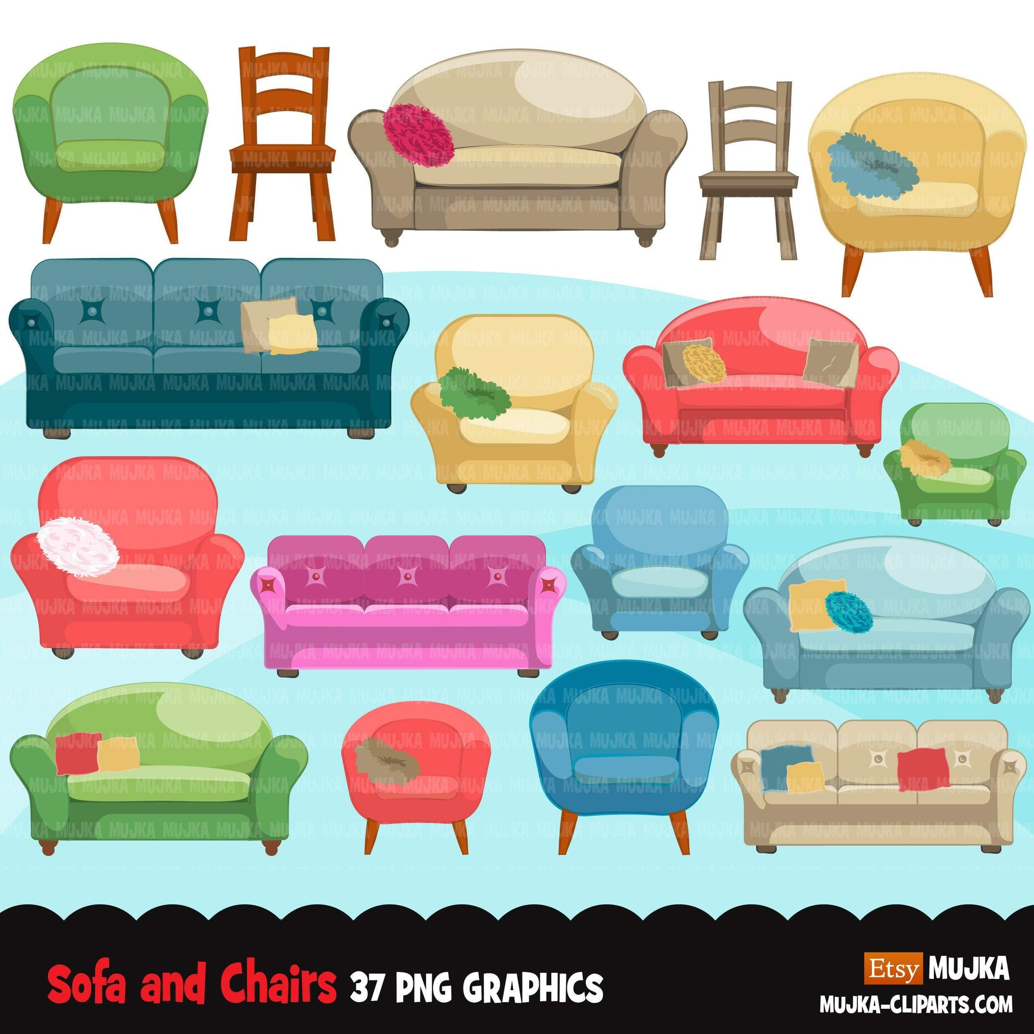 Sofa and armchairs clipart, cute furniture, lounge chair, lazy boy, cushions, pillows, and couches graphics commercial use PNG clip art