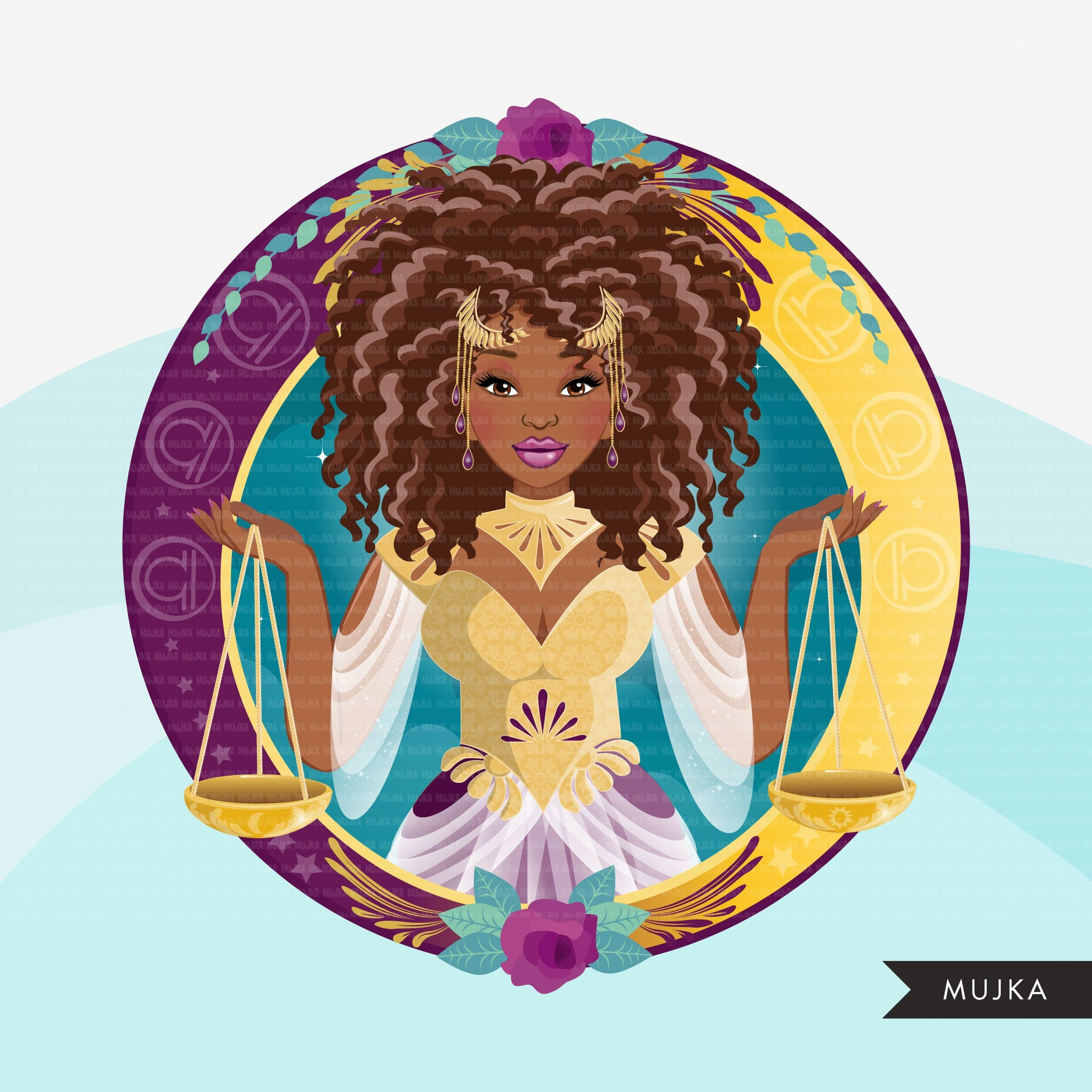 Zodiac Libra Clipart, Png digital download, Sublimation Graphics for Cricut & Cameo, Black Curly hair Woman Horoscope sign designs