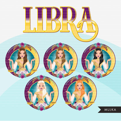 Zodiac Libra Clipart, Png digital download, Sublimation Graphics for Cricut & Cameo, Caucasian Woman long hair Horoscope sign designs