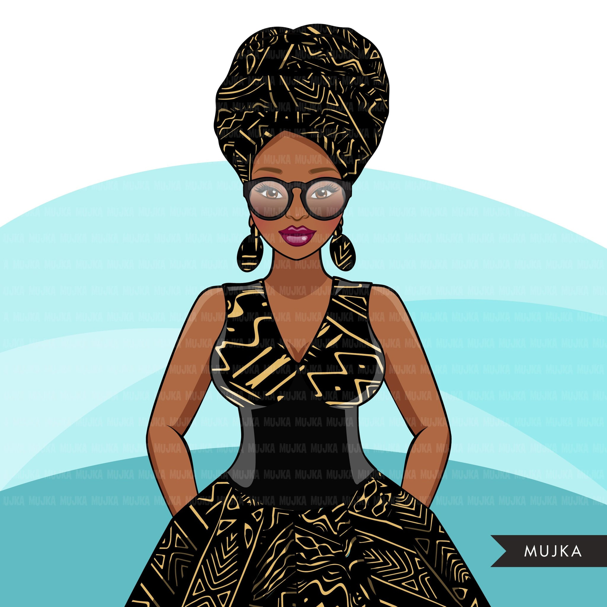 Ankara Fashion Graphics, African dress, black woman mud cloth pattern Sublimation designs for Cricut & Cameo, commercial use PNG clipart