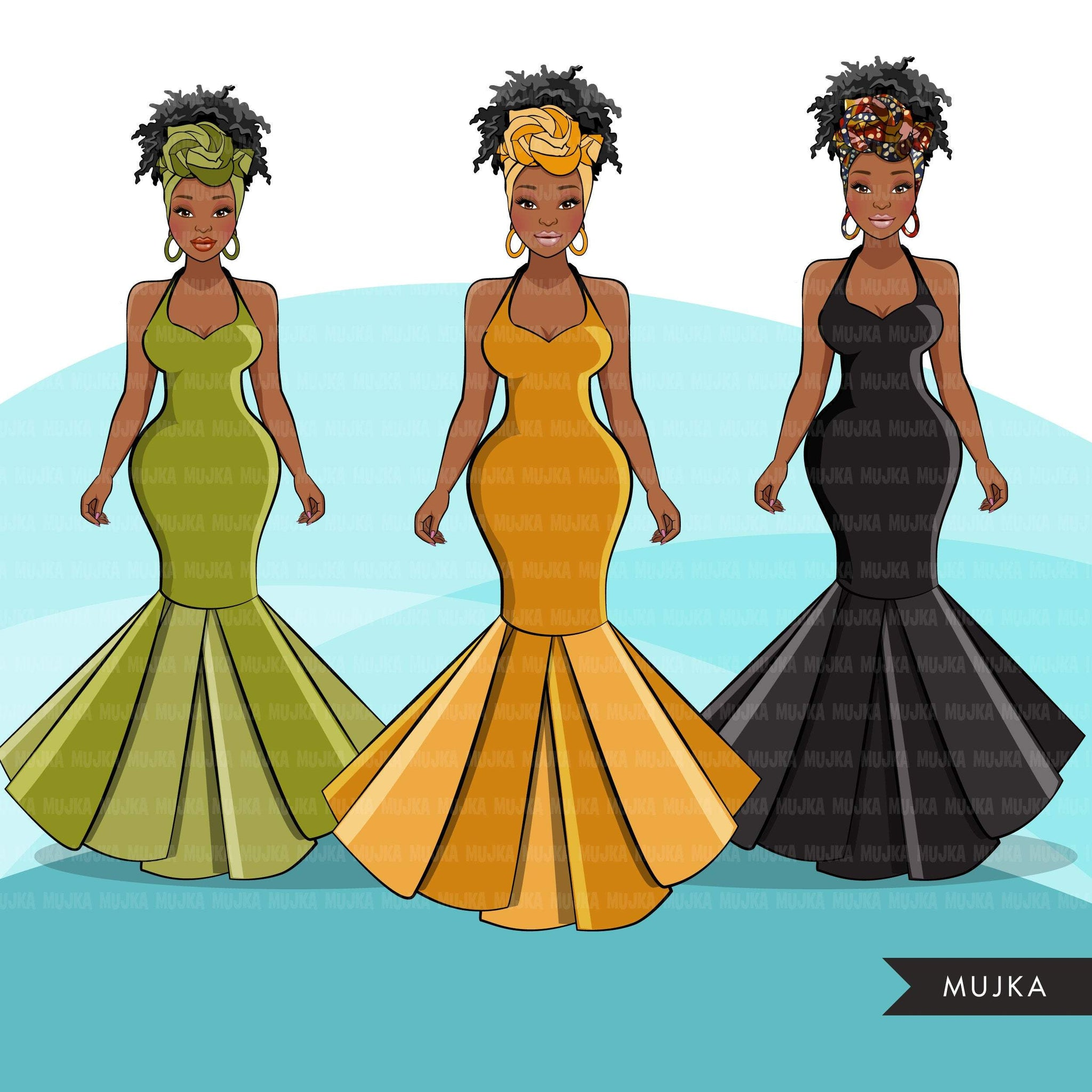Ankara Fashion Graphics, African dress, black woman traditional pattern Sublimation designs for Cricut & Cameo, commercial use PNG clipart