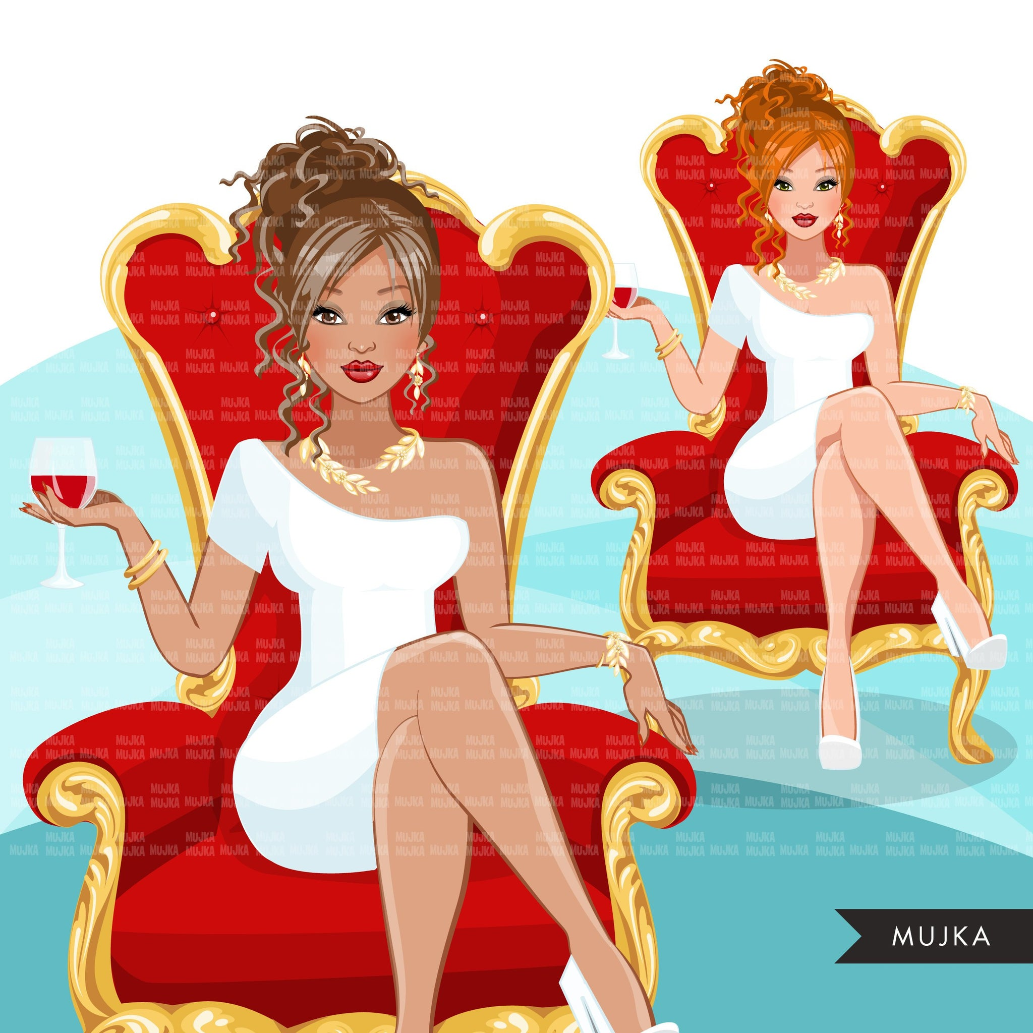 Fashion Graphics, Caucasian Woman messy bun hair red throne, Sublimation designs for Cricut & Cameo, commercial use PNG clipart