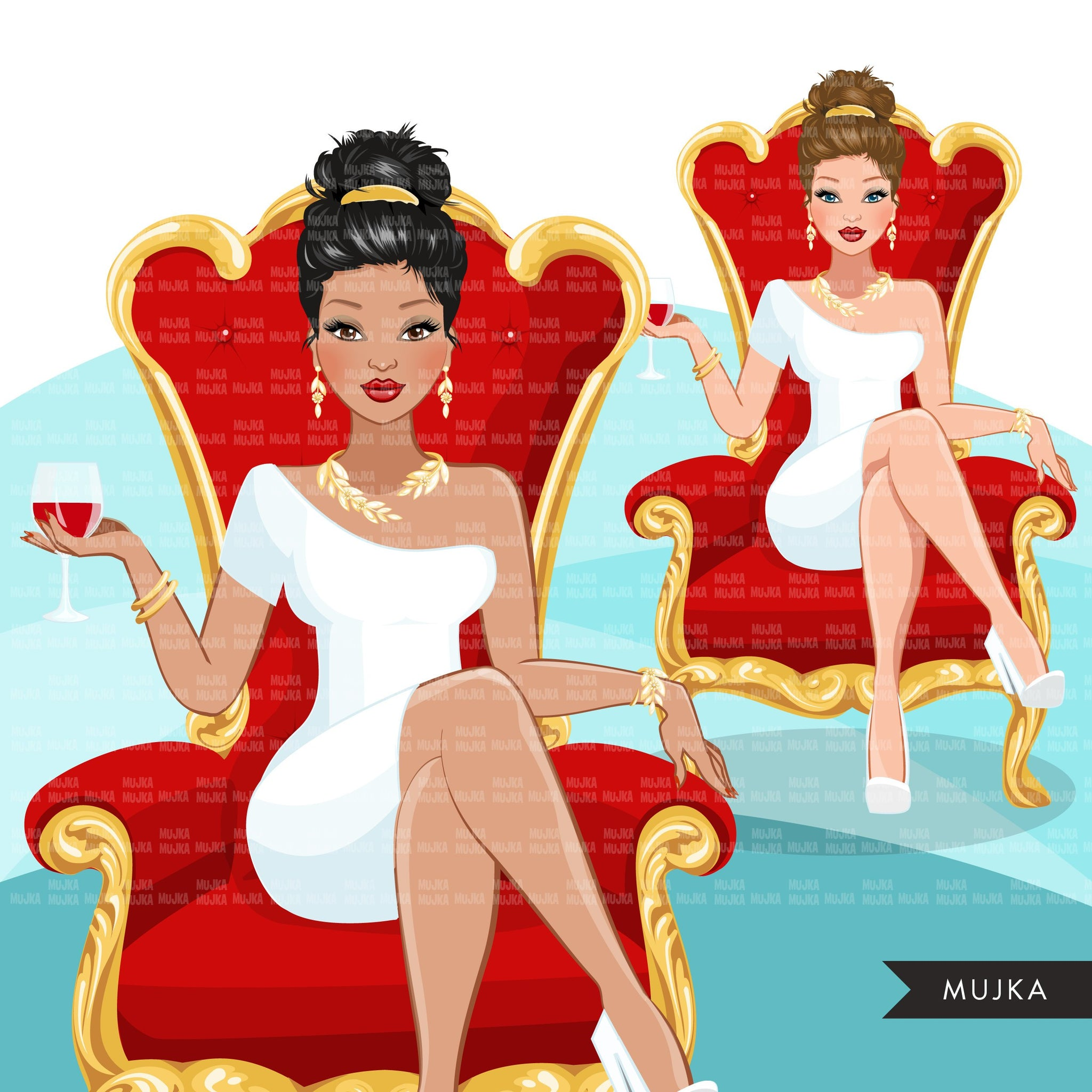 Fashion Graphics, Caucasian Woman updo hair red throne, Sublimation designs for Cricut & Cameo, commercial use PNG clipart