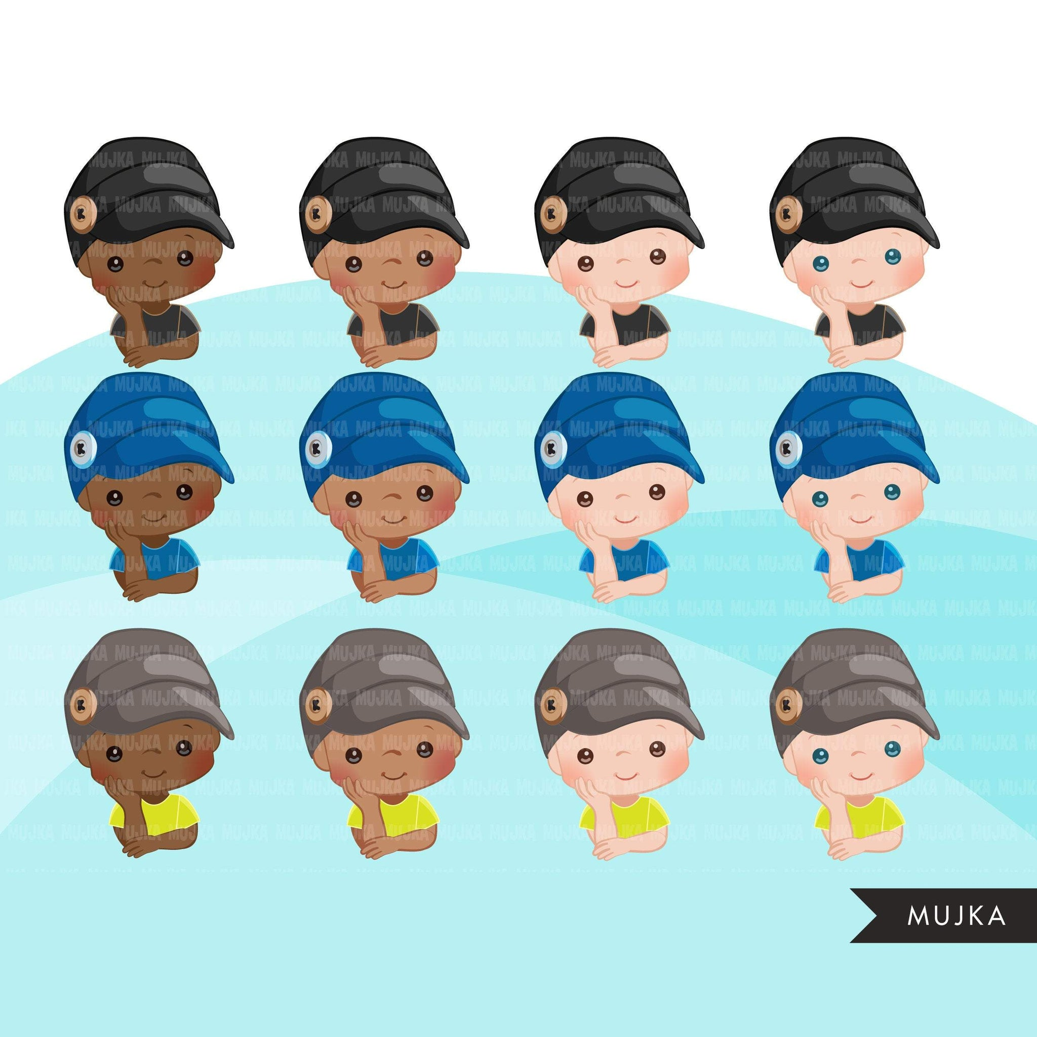 Baby Boss Clipboys with cute boss button hat, black baby boy bonnet graphics, commercial use PNG clip art