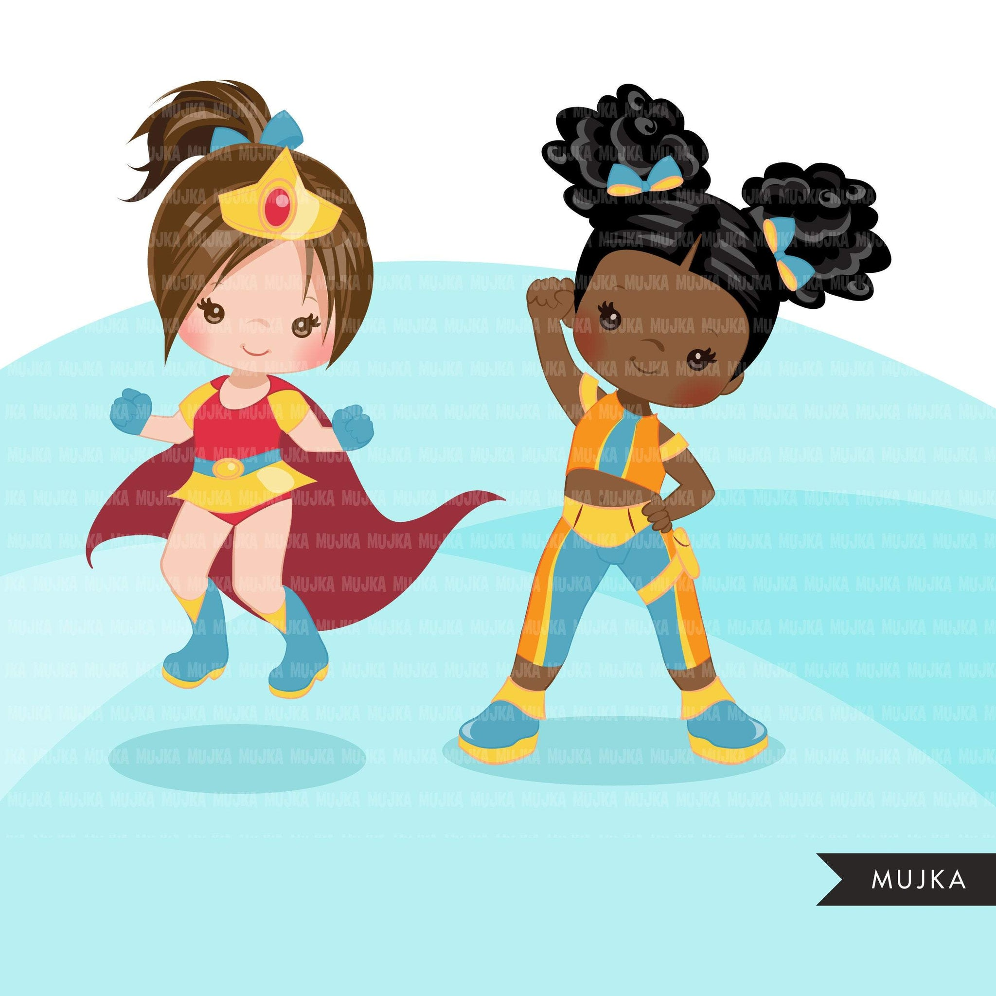 Superhero clipart, supergirl hero sublimation graphics, black girls birthday party, afro girl PNG clip art