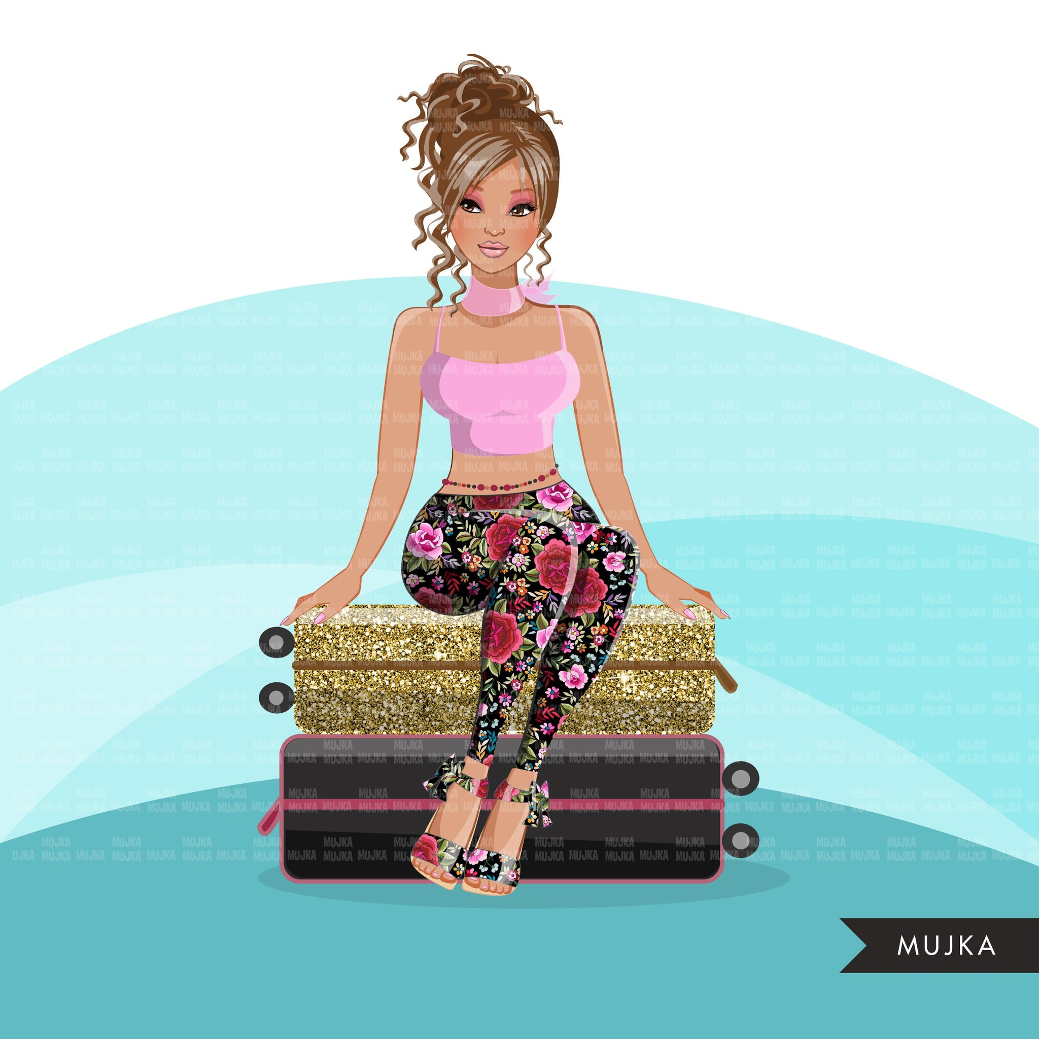 Fashion Graphics, travel gold glitter suitcase, Caucasian Woman messy bun, Sublimation design for Cricut & Cameo, commercial use PNG clipart