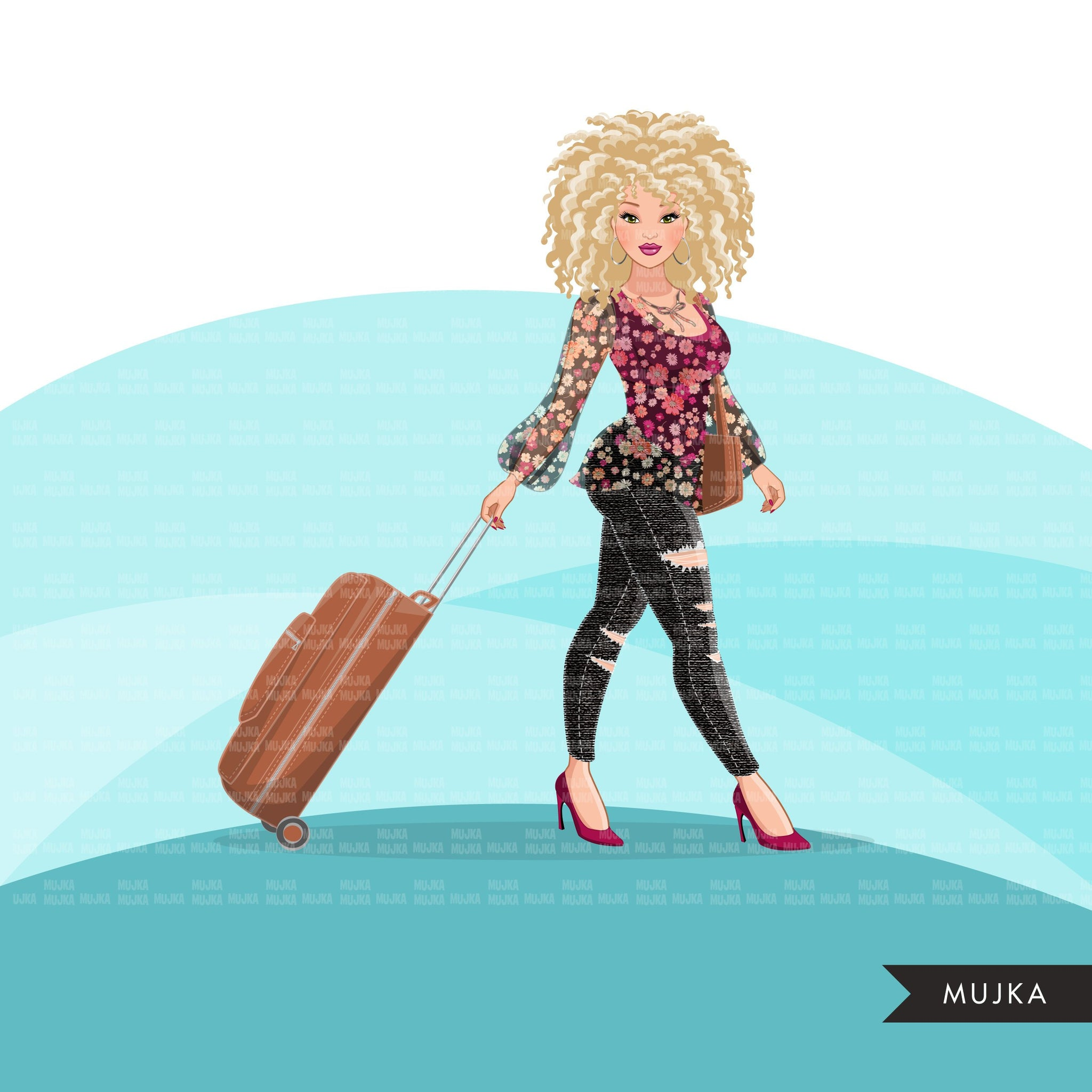 Fashion Graphics, travel vacation suitcase, Caucasian woman curly hair, Sublimation design for Cricut & Cameo, commercial use PNG clipart