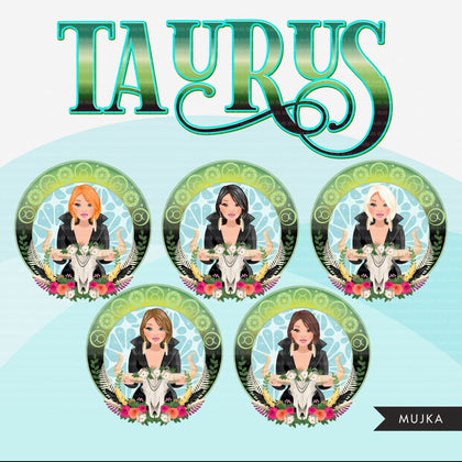 Zodiac Taurus Clipart, Png digital download, Sublimation Graphics for Cricut & Cameo, Caucasian short bob hair Woman Horoscope sign designs