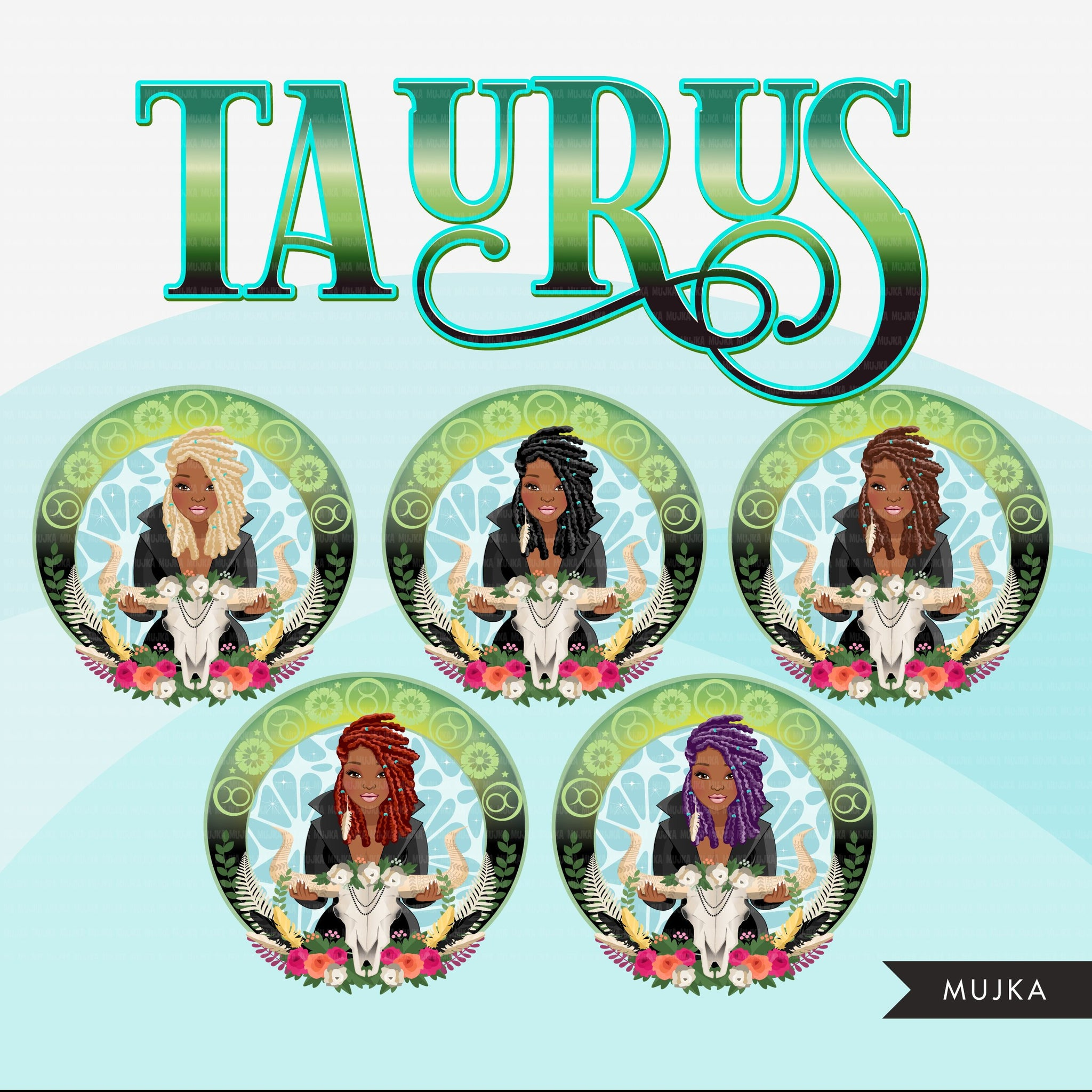 Zodiac Taurus Clipart, Png digital download, Sublimation Graphics for Cricut & Cameo, Black BRAIDS Woman Horoscope sign designs