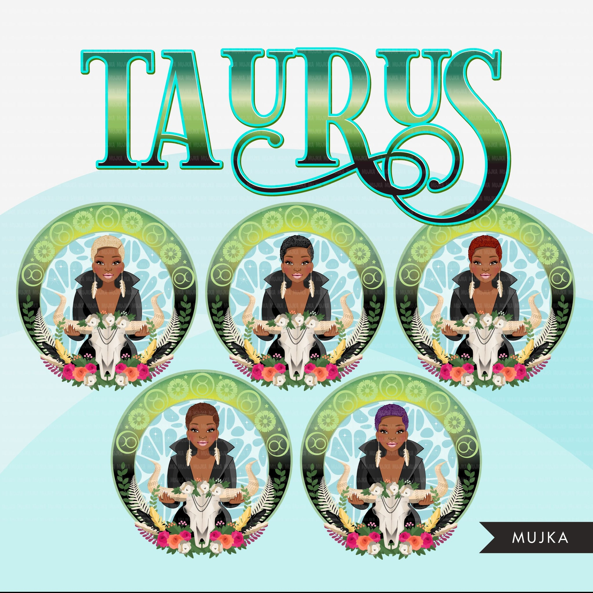 Zodiac Taurus Clipart, Png digital download, Sublimation Graphics for Cricut & Cameo, Black Woman Horoscope sign designs