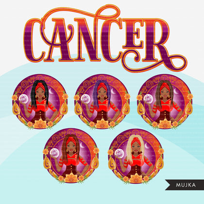 Zodiac Cancer Clipart, Png digital download, Sublimation Graphics for Cricut & Cameo, Black Braids Woman Horoscope sign designs