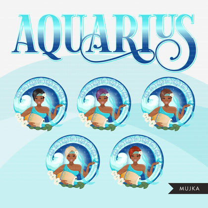 Zodiac Aquarius Clipart, Png digital download, Sublimation Graphics for Cricut & Cameo, Black Pixie Hair Woman Horoscope sign designs