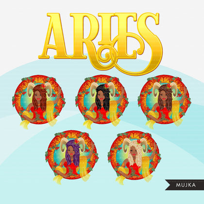 Zodiac Aries Clipart, Png digital download, Sublimation Graphics for Cricut & Cameo, Black Braids Woman Horoscope sign designs