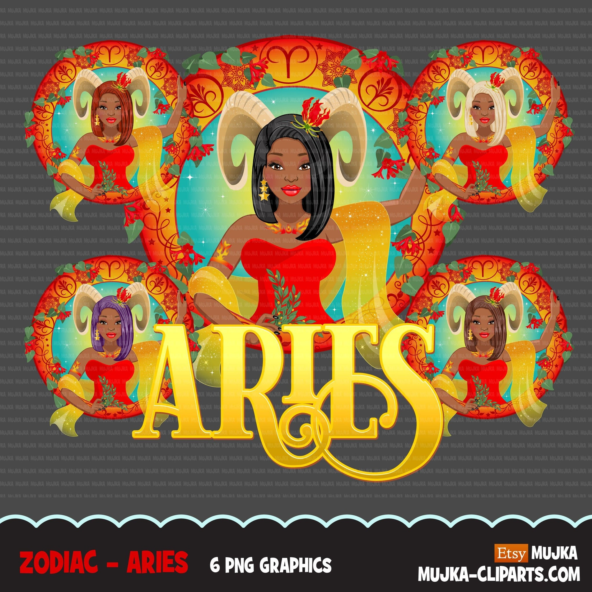 Zodiac Aries Clipart, Png digital download, Sublimation Graphics for Cricut & Cameo, Black Long hair Woman Horoscope sign designs