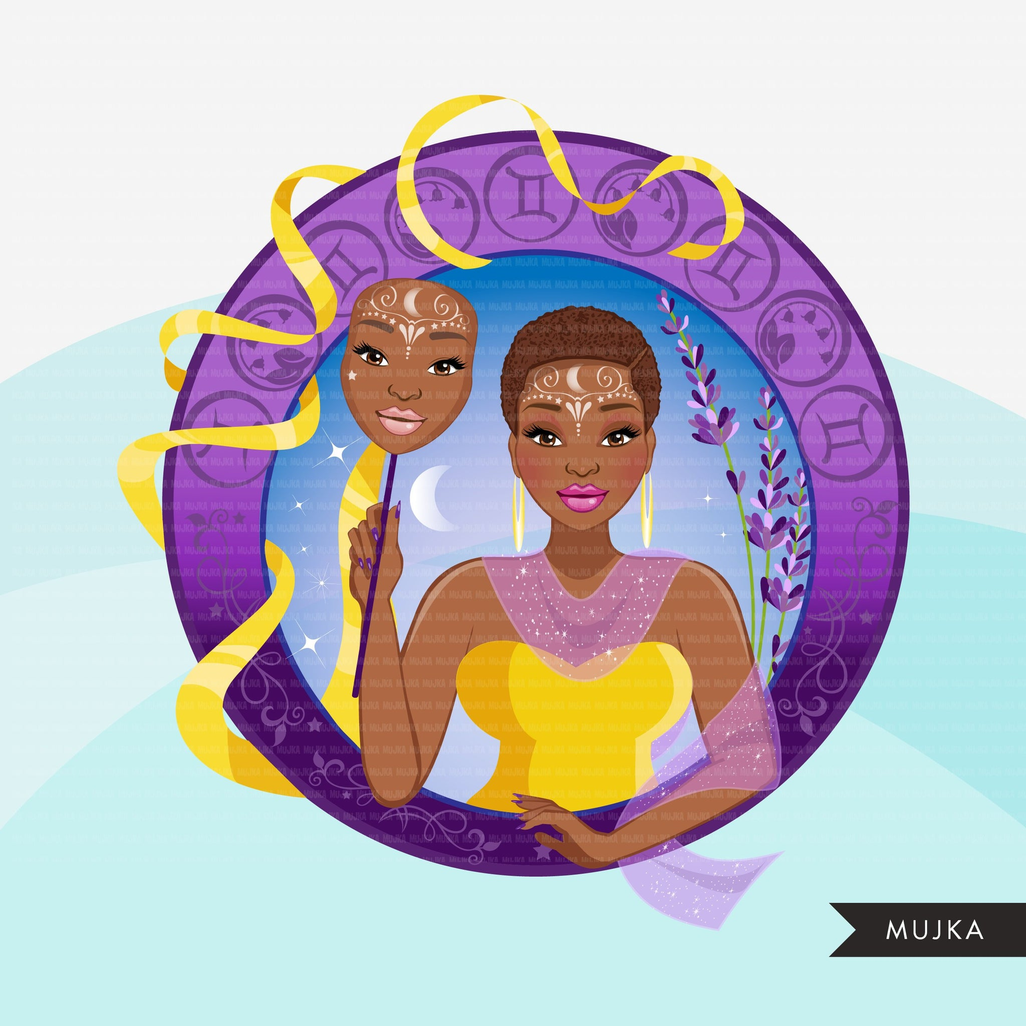Zodiac Gemini Clipart, Png digital download, Sublimation Graphics for Cricut & Cameo, Black Woman Horoscope sign designs
