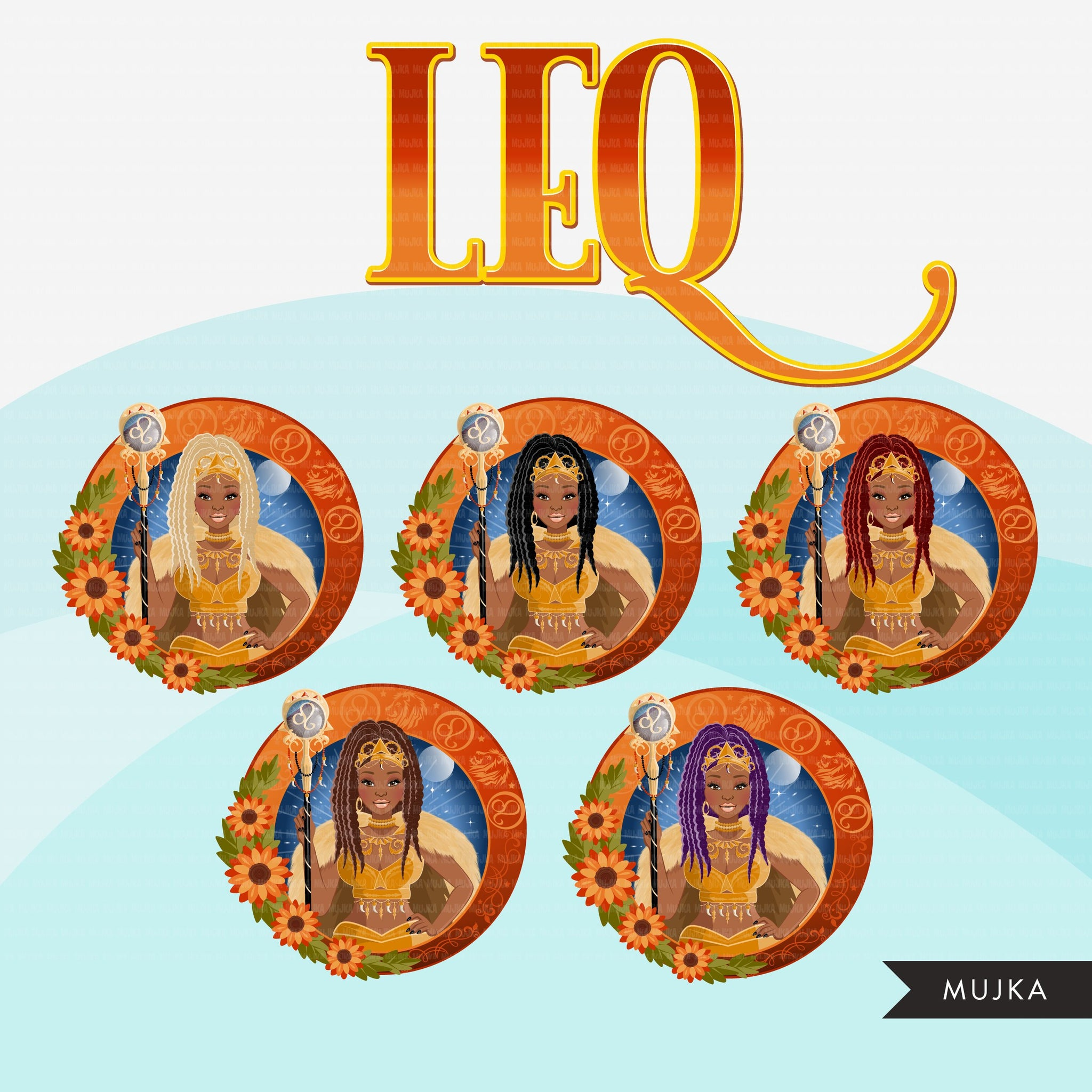 Zodiac Leo Clipart, Png digital download, Sublimation Graphics for Cricut & Cameo, Black Braids Woman Horoscope sign designs