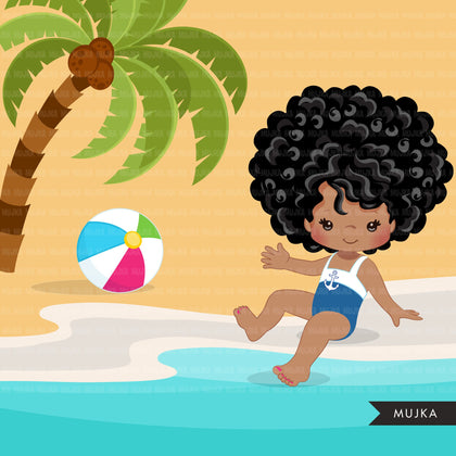 Beach Fun Clipart for Black Girls, Summer Swimsuit Graphics, surf board, beach ball, sublimation Png digital clip art