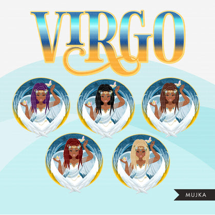 Zodiac Virgo Clipart, Png digital download, Sublimation Graphics for Cricut & Cameo, Black Braids Woman Horoscope sign designs