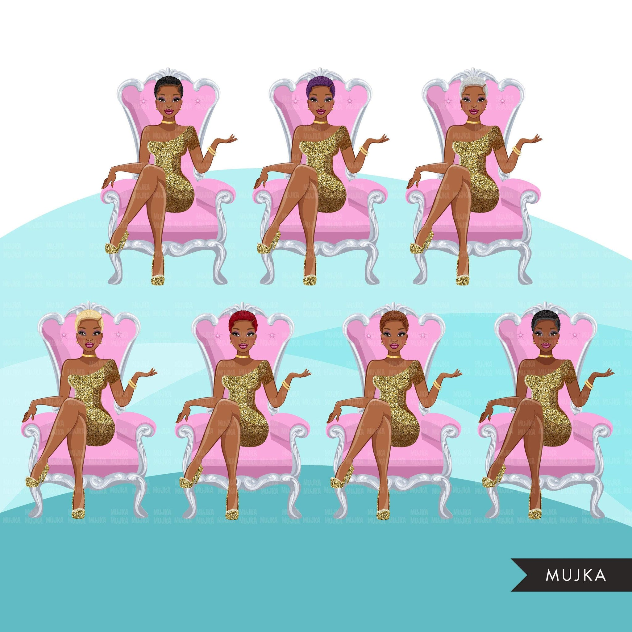 Fashion Graphics, Black Woman, pink throne, gold glitter, Sublimation designs for Cricut & Cameo, commercial use PNG clipart