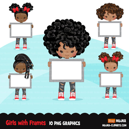 Girls holding frames Clipart, ripped jeans and boots cute kids with blank frame, sublimation Png digital clip art