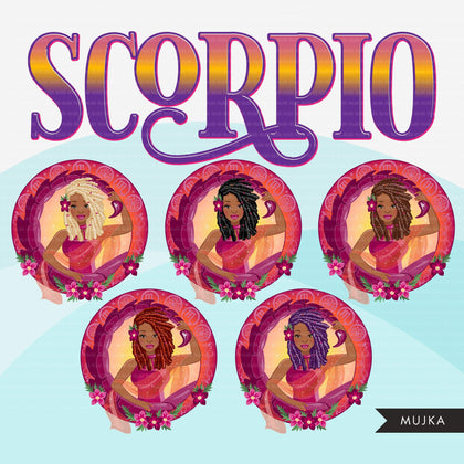 Zodiac Scorpio Clipart, Png digital download, Sublimation Graphics for Cricut & Cameo, Black long braided hair Woman Horoscope sign designs