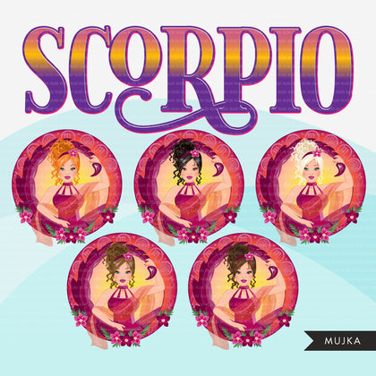 Zodiac Scorpio Clipart, Png digital download, Sublimation Graphics for Cricut & Cameo, Caucasian messy bun hair Woman Horoscope sign designs