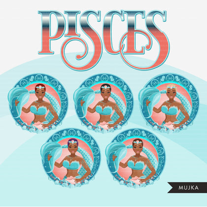Zodiac Pisces Clipart, Png digital download, Sublimation Graphics for Cricut & Cameo, Black Woman Horoscope sign designs