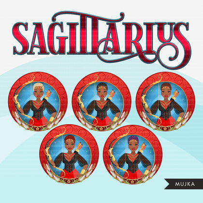 Zodiac Sagittarius Clipart, Png digital download, Sublimation Graphics for Cricut & Cameo, Black Woman Horoscope sign designs