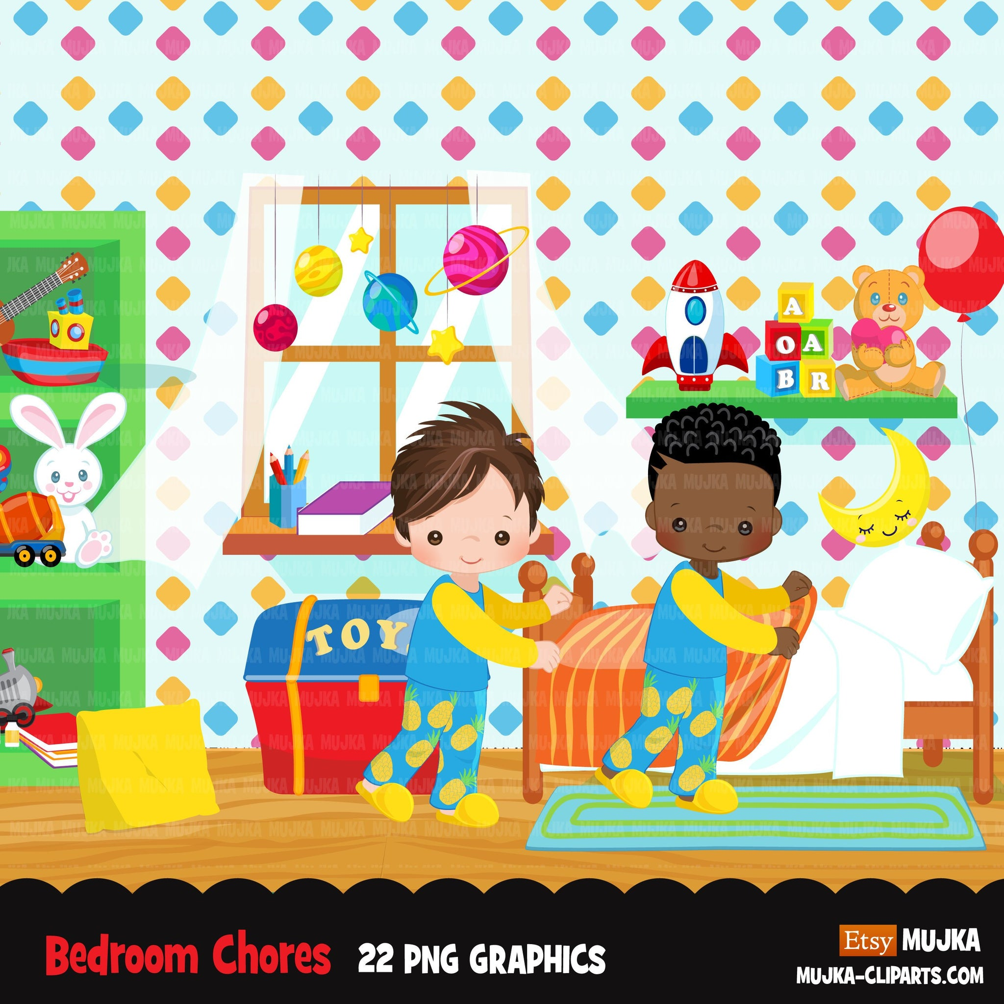 Chores Clipart, bedroom chores, making bed, children's room sublimation graphics, black boys PNG clip art