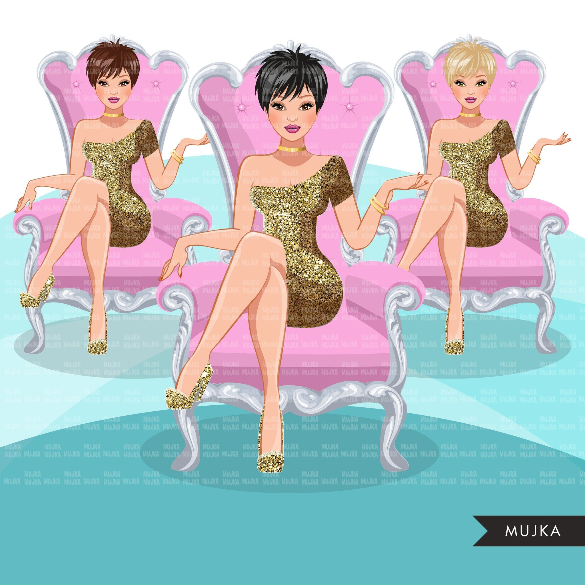 Fashion Graphics, Caucasian Woman pixie hair, gold glitter, pink throne, Sublimation designs for Cricut & Cameo, commercial use PNG clipart