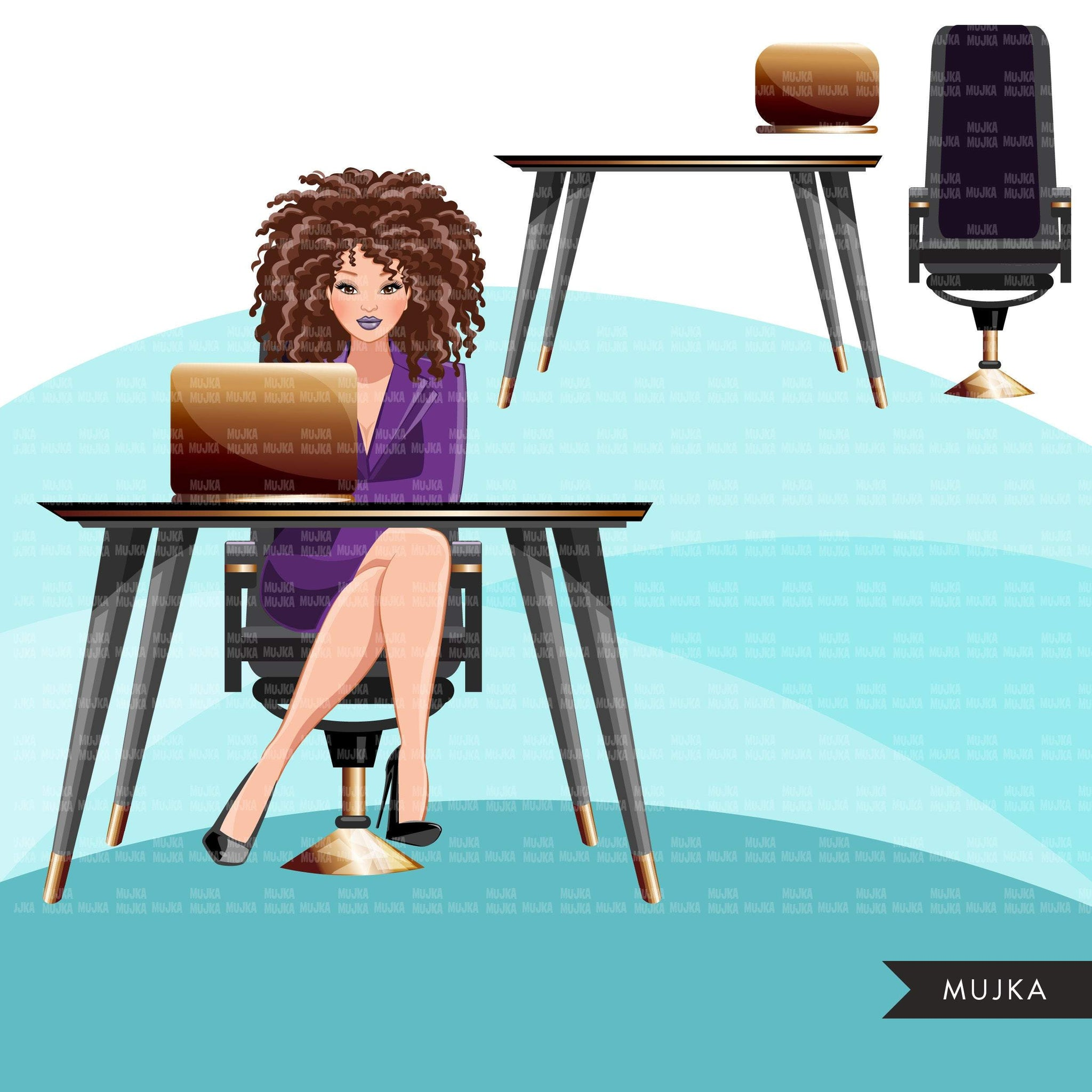 Fashion Graphics, Caucasian Business Woman with laptop, curly hair, Sublimation designs for Cricut & Cameo, commercial use PNG clipart
