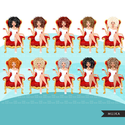 Fashion Graphics, Caucasian Woman curly hair red throne, Sublimation designs for Cricut & Cameo, commercial use PNG clipart