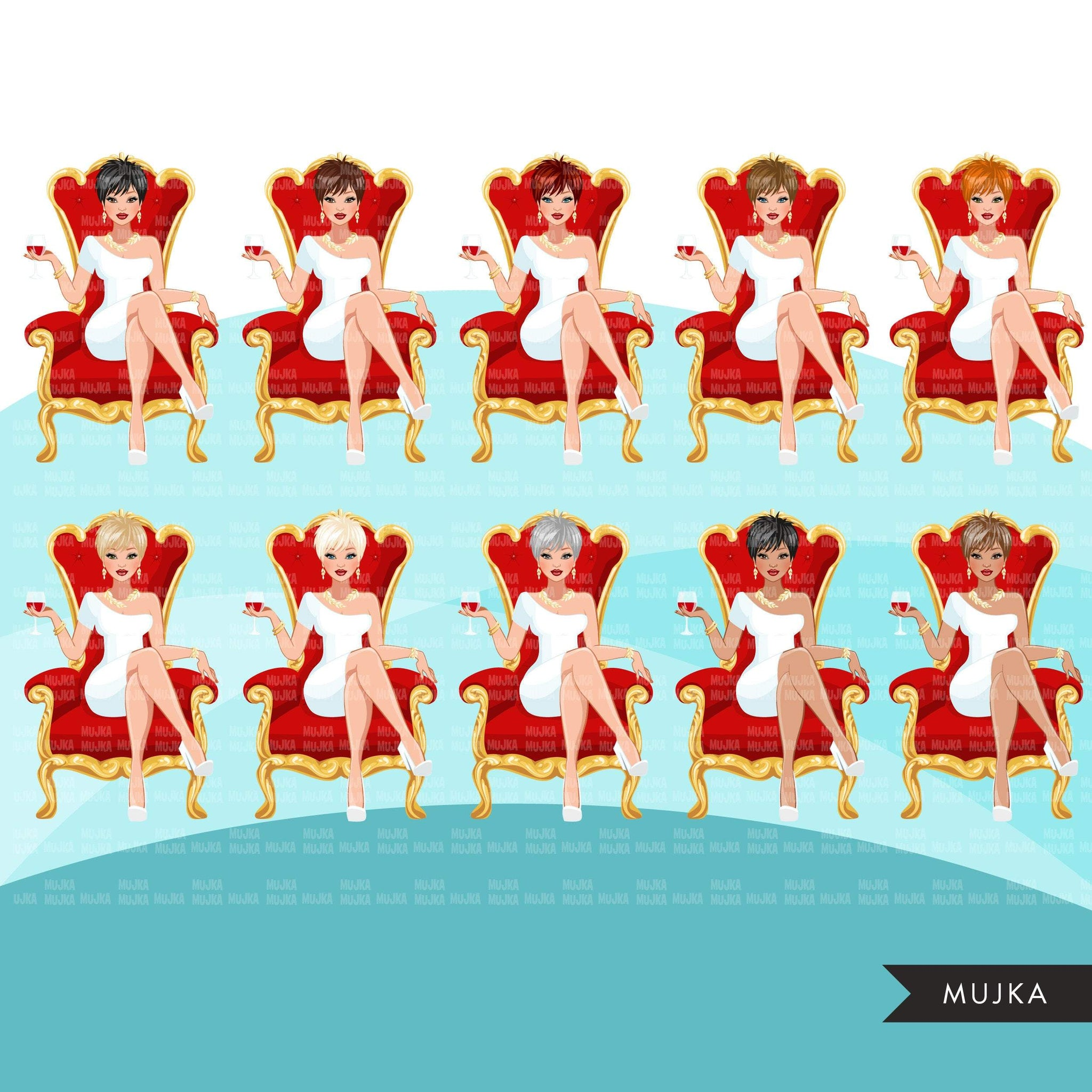 Fashion Graphics, Caucasian Woman pixie hair red throne, Sublimation designs for Cricut & Cameo, commercial use PNG clipart