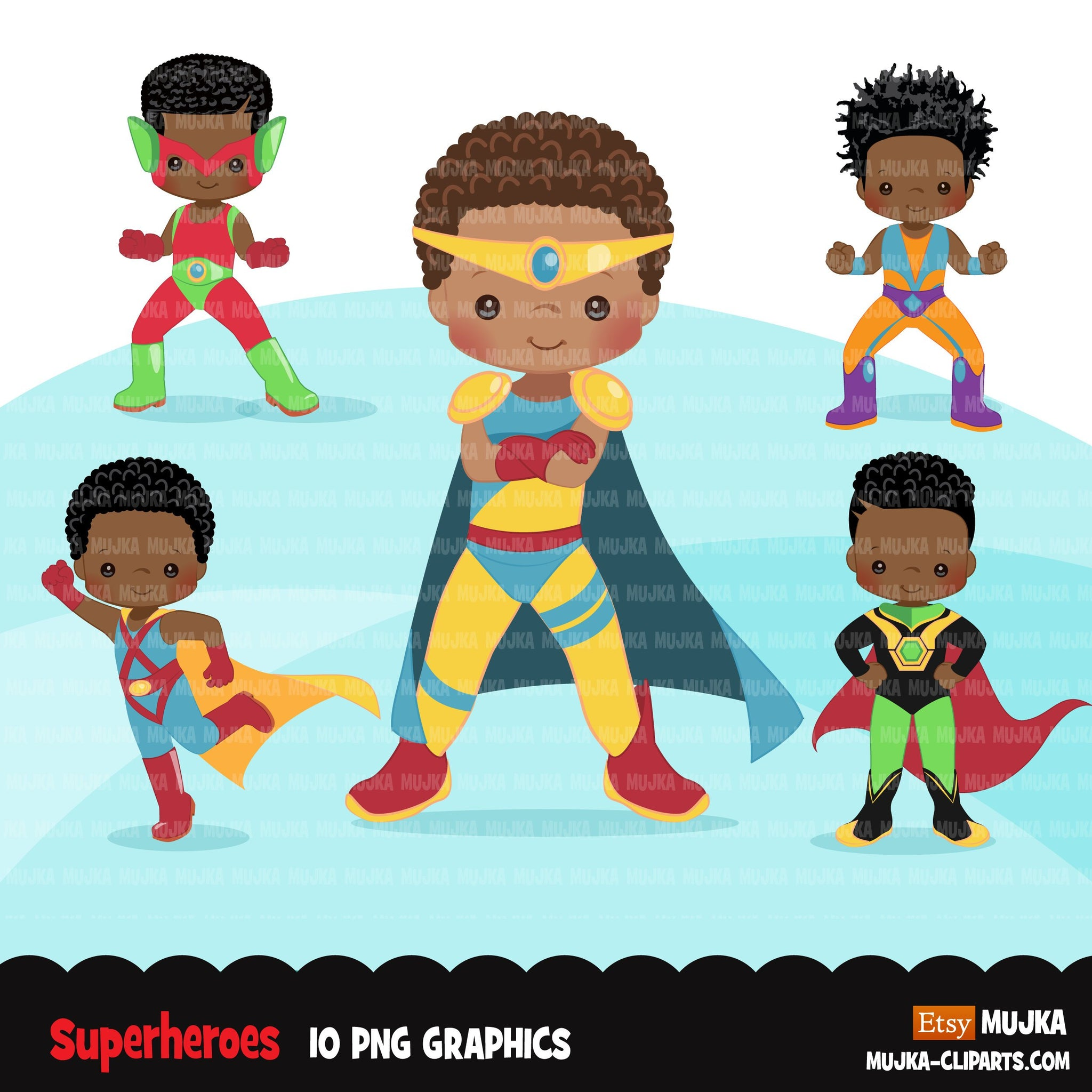 Superhero clipart, superboy hero sublimation graphics, black boys birthday party,PNG clip art