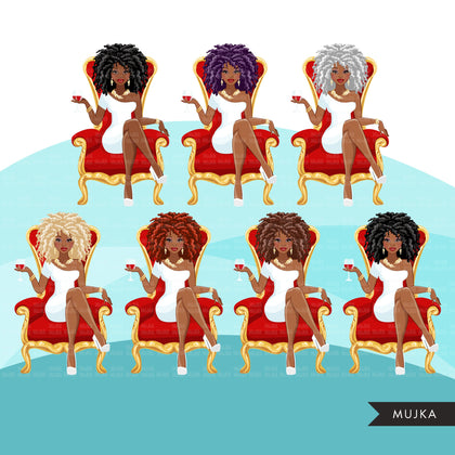 Fashion Graphics, Black Woman curly hair red throne, Sublimation designs for Cricut & Cameo, commercial use PNG clipart