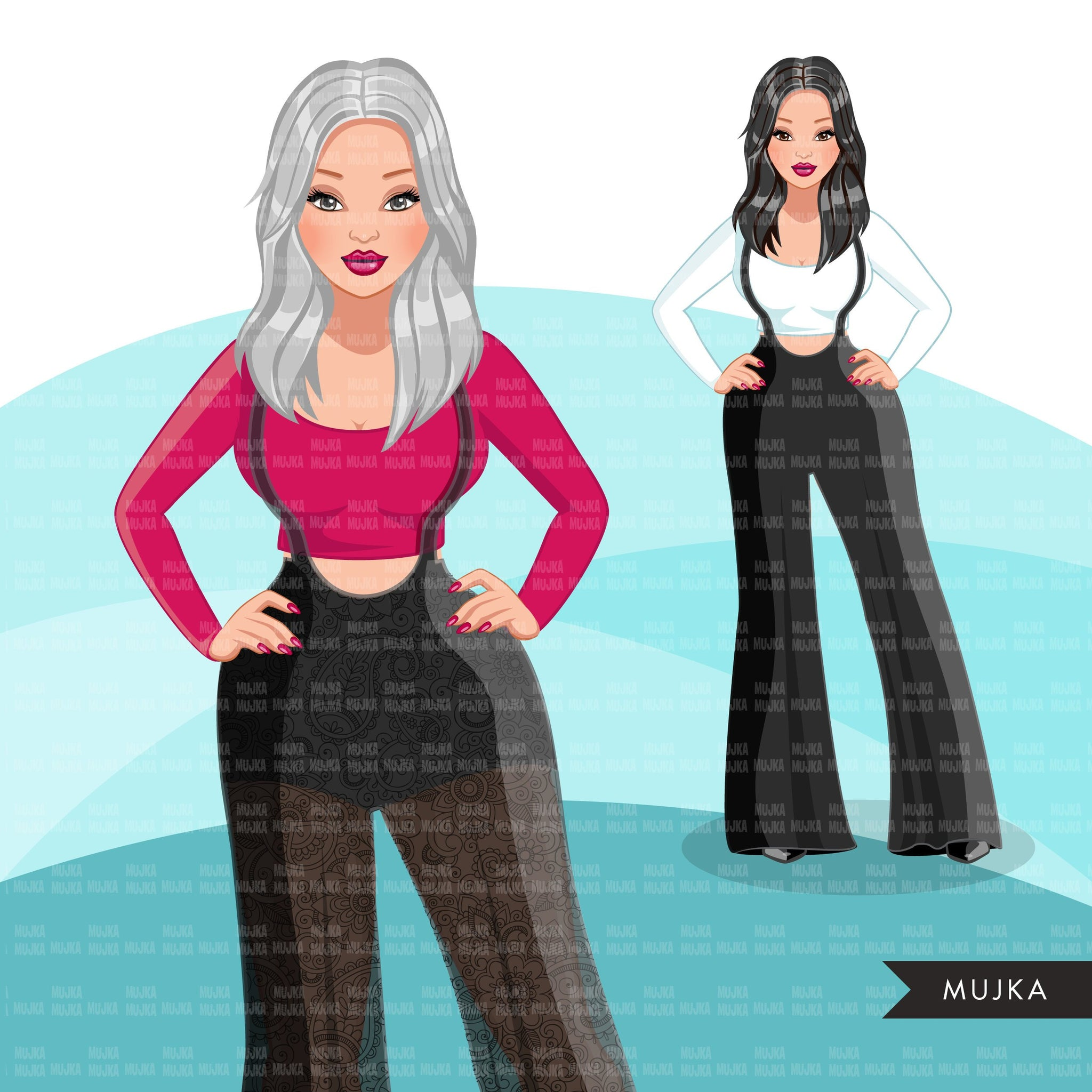 Fashion Graphics, Caucasian Woman jumpsuit, long hair, Sublimation designs for Cricut & Cameo, commercial use PNG clipart