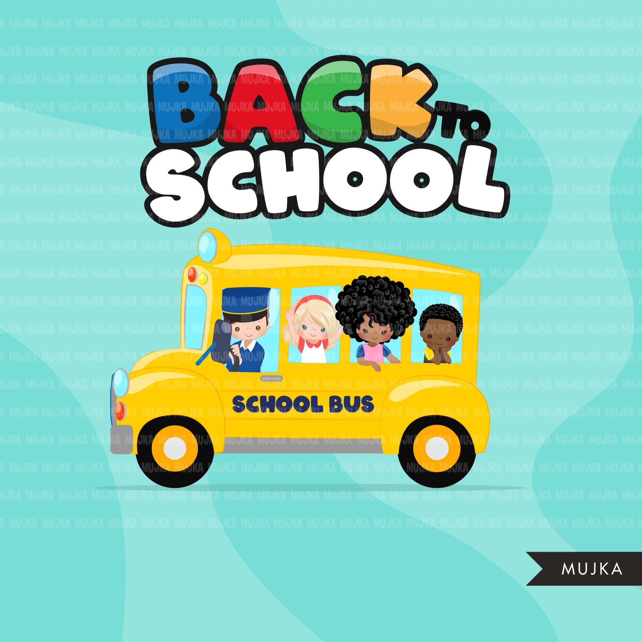 Back to school Clipart, school bus clip art, students, boy, girl with face mask, bus driver, education sublimation graphics, PNG clip art