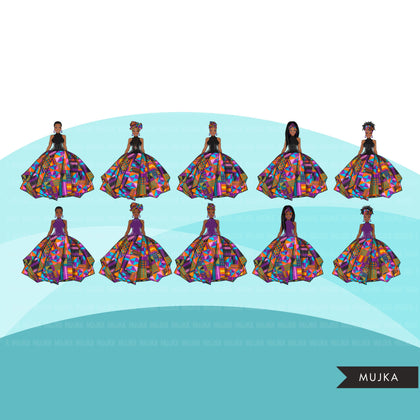 Ankara Fashion Graphics, Kente African dress, mix black woman Sublimation designs for Cricut & Cameo, commercial use PNG clipart