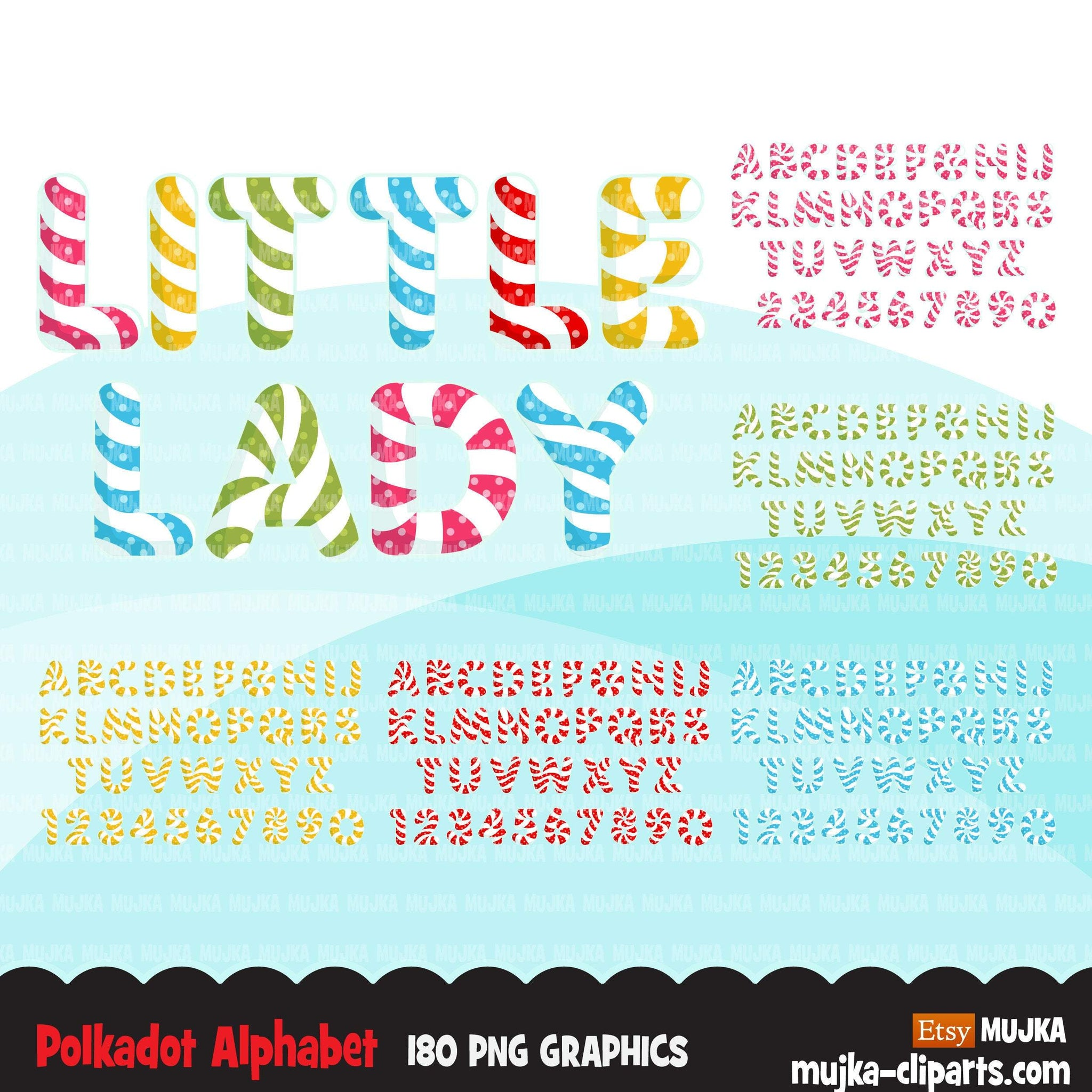 Polka dot Alphabet clipart, Lollipop shaped letters and numbers, birthday party clip art, cute letters Png graphics
