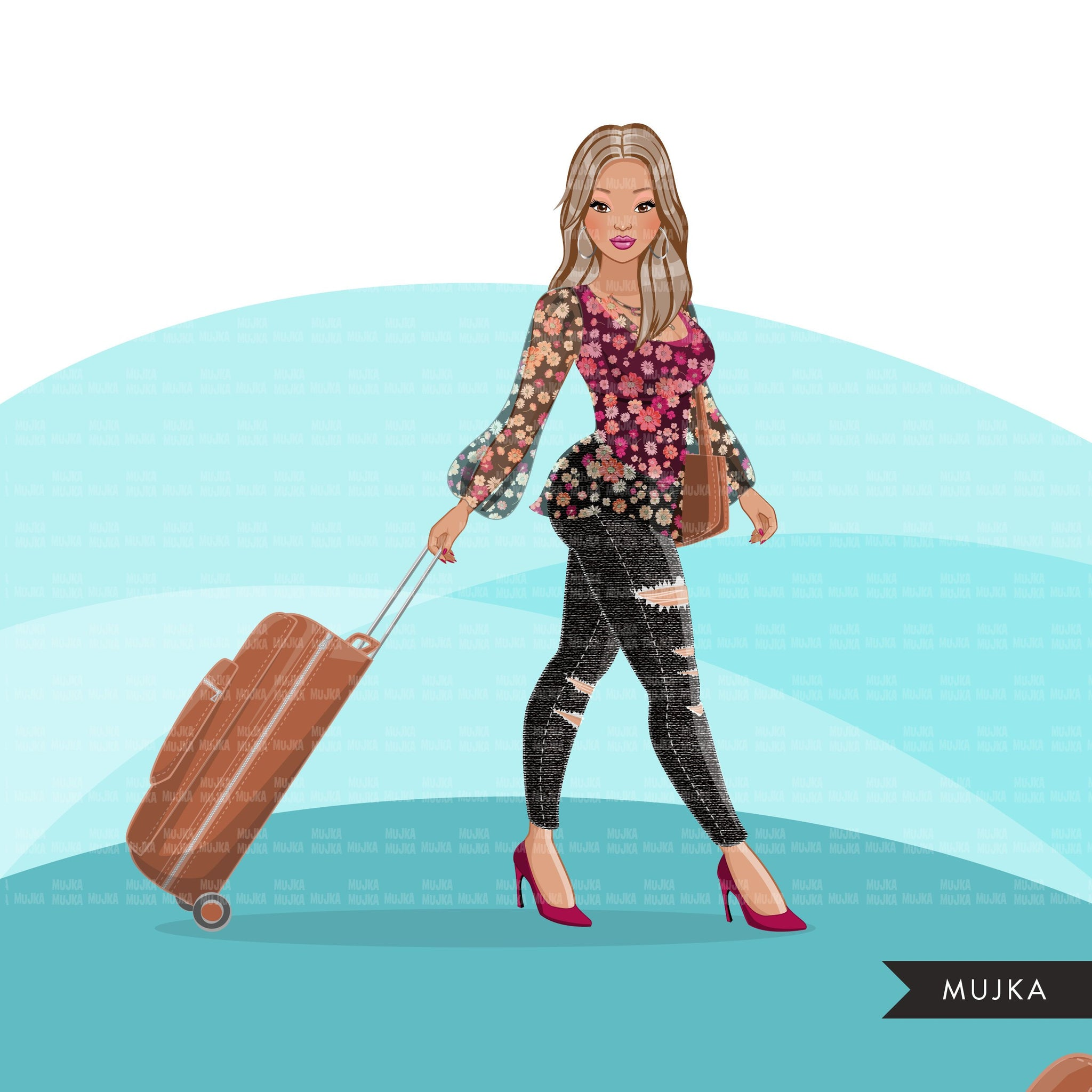 Fashion Graphics, travel vacation suitcase, Caucasian woman long hair, Sublimation design for Cricut & Cameo, commercial use PNG clipart