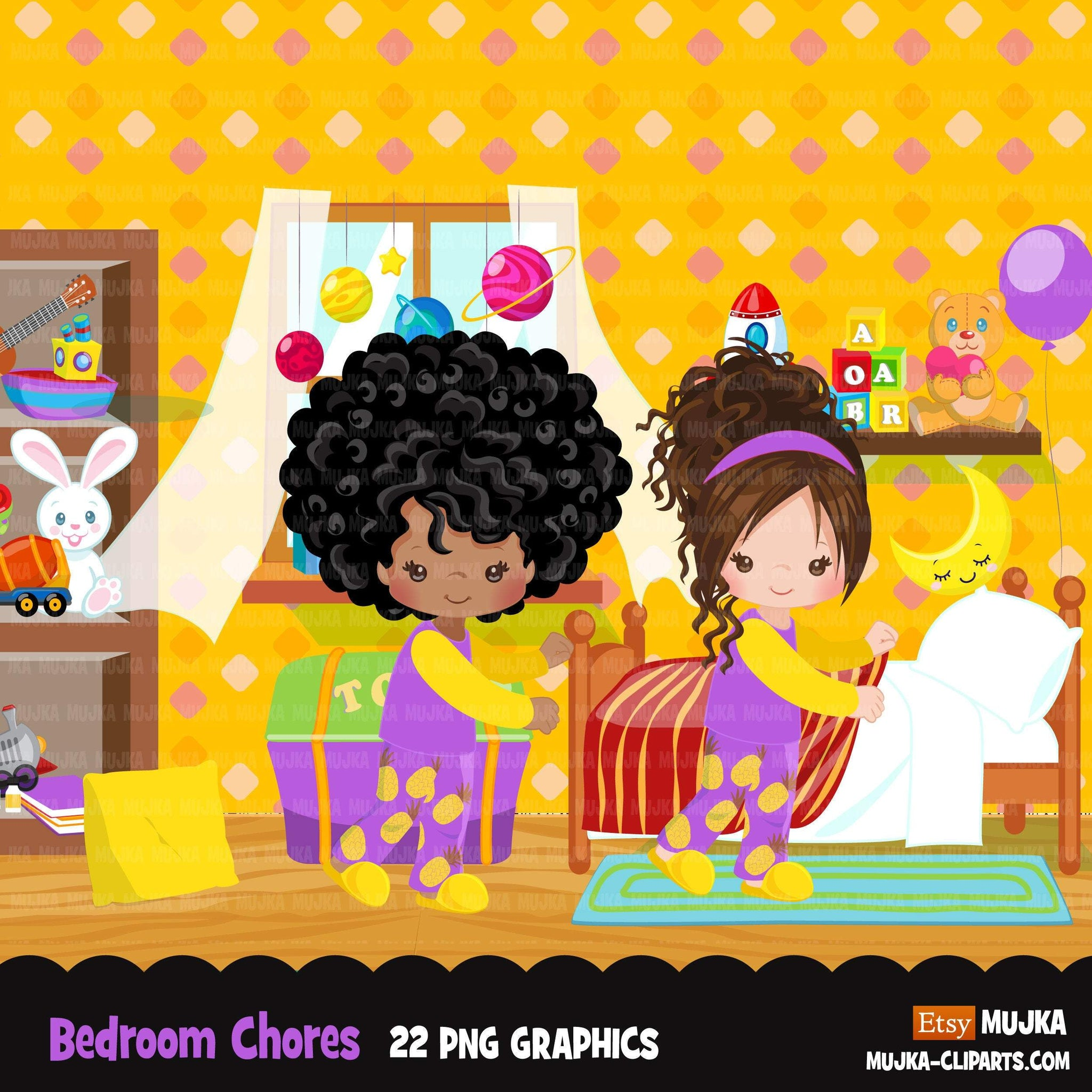Chores Clipart, bedroom chores, making bed, children's room sublimation graphics, black girls PNG clip art