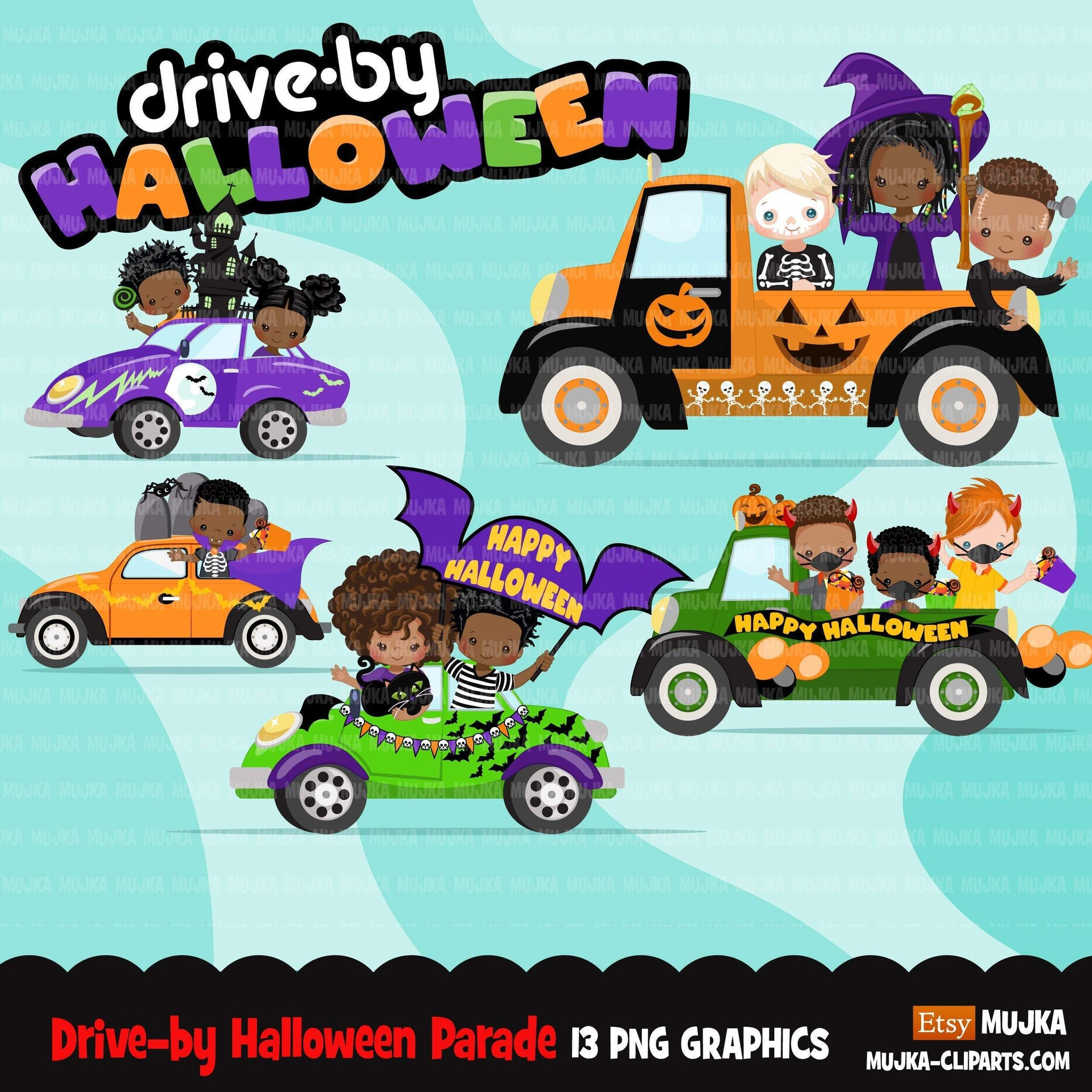 Drive by Halloween Party parade clipart, kids quarantine halloween party, drive through party truck, car graphics, PNG clip art, boys, girls