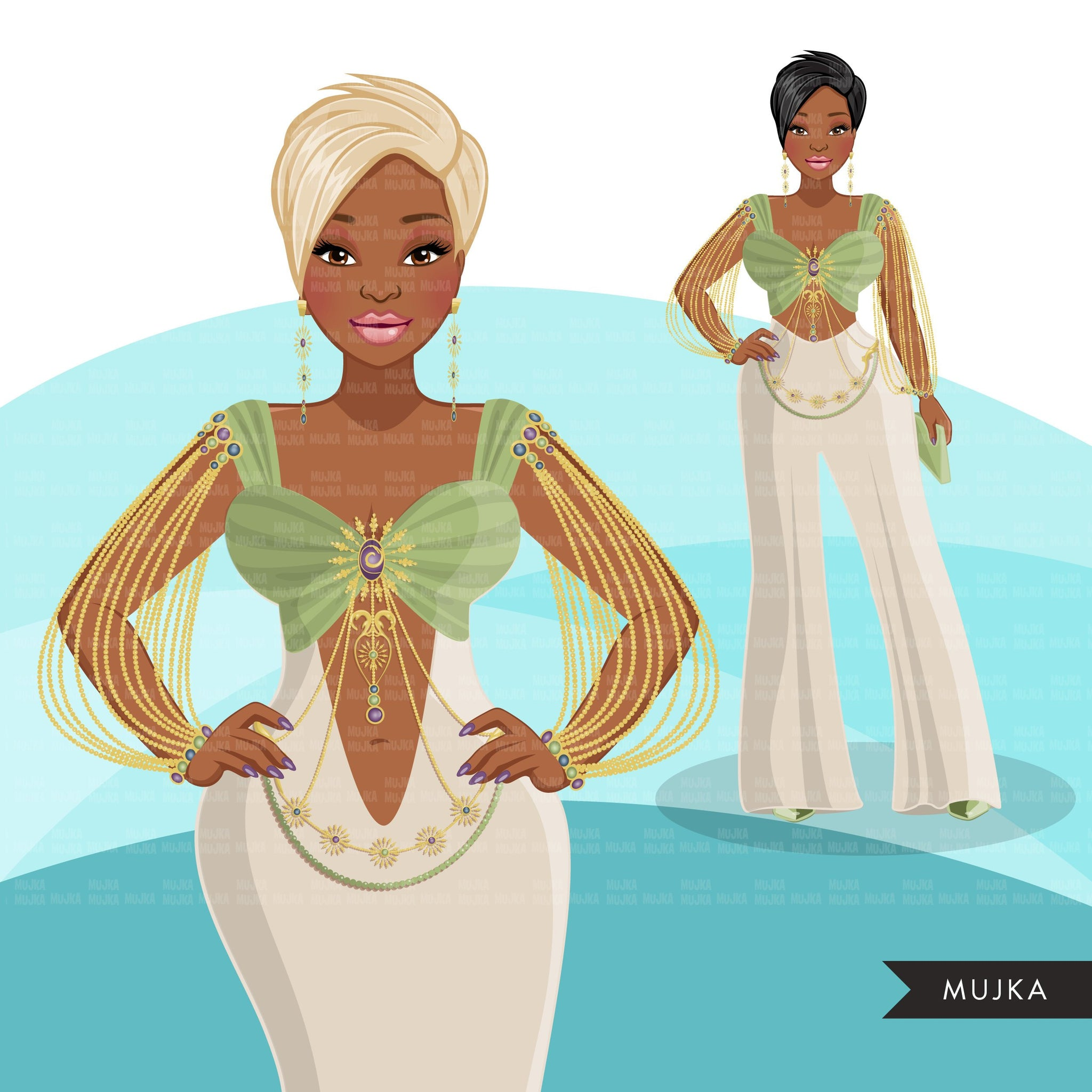 Fashion Graphics, Black Woman Green Cocktail dress, pixie hair, Sublimation designs for Cricut & Cameo, commercial use PNG clipart