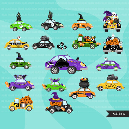 Drive by Halloween Party parade clipart, quarantine party, drive through party truck, car graphics, PNG clip art